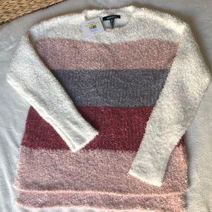 NWT Ellen Tracy Striped Mauve & White Sweater